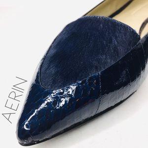 Aerin Imogen snake skin calf hair pointed flats 9